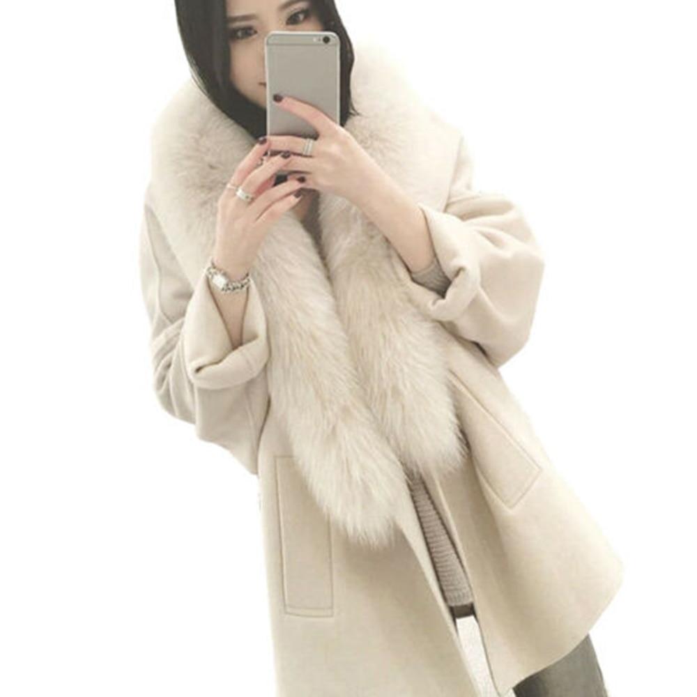 Women Thicken Winter Large Fur Collar Ruffles Coats Overcoat Tops Women   Trench   Cardigan Coat for Women