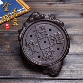 Yixing קונג פו תה מגש זישה תה ים סירים Threelegged קרפדות מזל אוצר קרמיקה תה סטים יבש בועת צלחת מים אחסון מיני