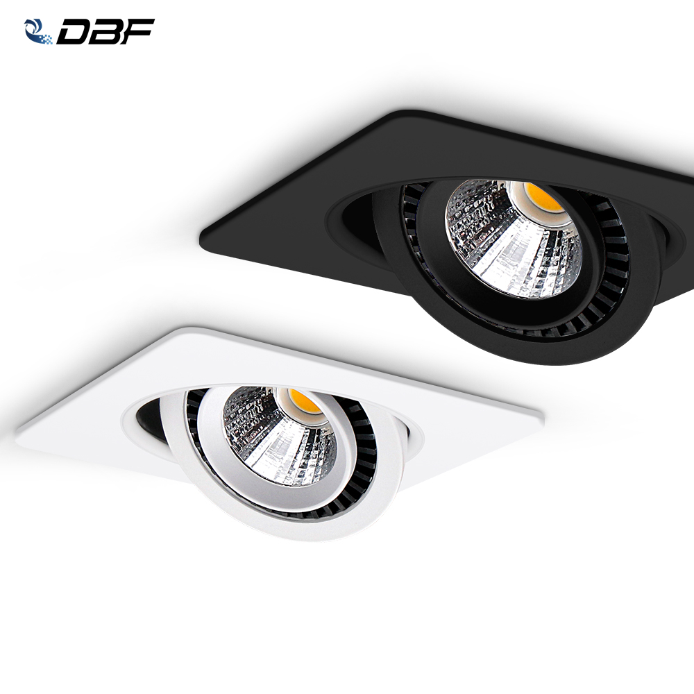 DBF Rotatable Angle LED Recessed Downlight 5W 7W 10W 12W 15W LED Ceiling Spot Light 3000K 4000K 6000K Black White Housing Light