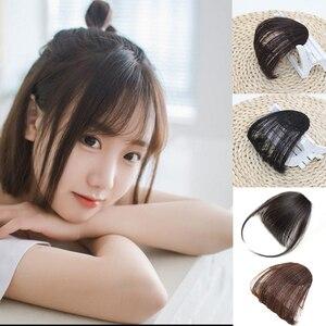 LiangMo воздушная челка для девочек, накладные волосы на заколках, челка для наращивания, высокая температура, синтетические волосы, тупой имитация челок