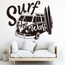 Surf The Wave Camper Car Wall Sticker Bedroom Nursery Vehicle Surfboard Summer Beach Decal Kids Room Vinyl 3341