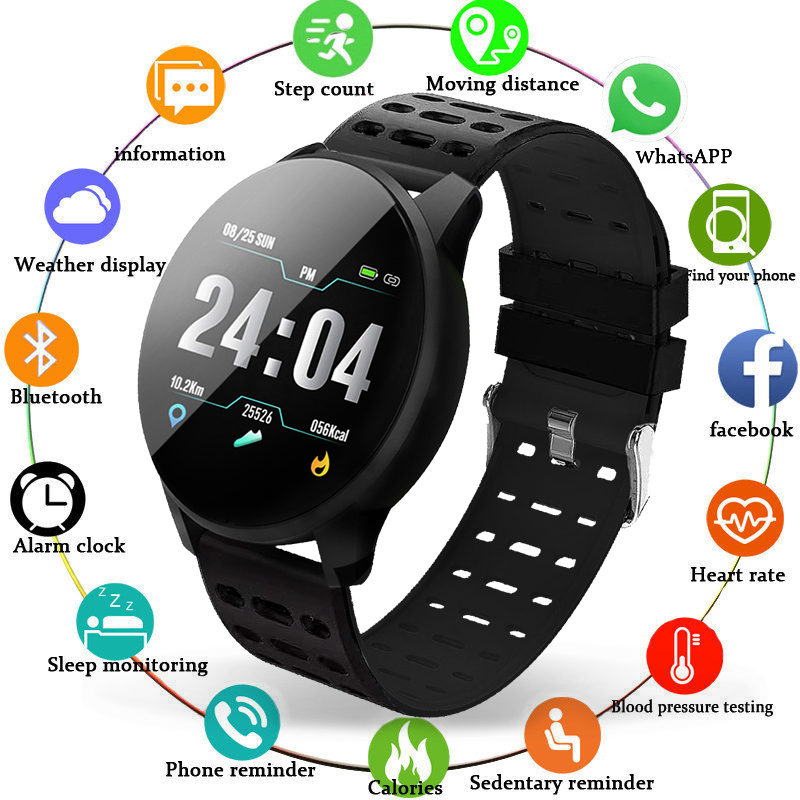 Bracelet Watch Pedometer Monitor Bluetooth-Connection Heart-Rate Fitness Sport Waterproof title=