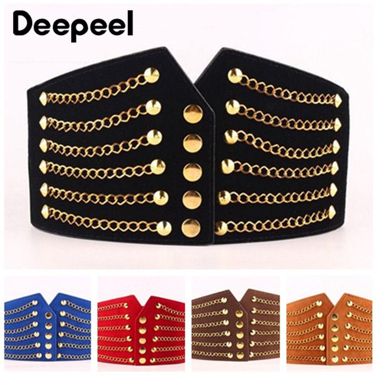 Deepeel 1pc Women Fashion Slim Corset Cummerbunds Elastic Belts Wild Rivet Waistband Female Coat Fur Hige Waist Belt Accessory