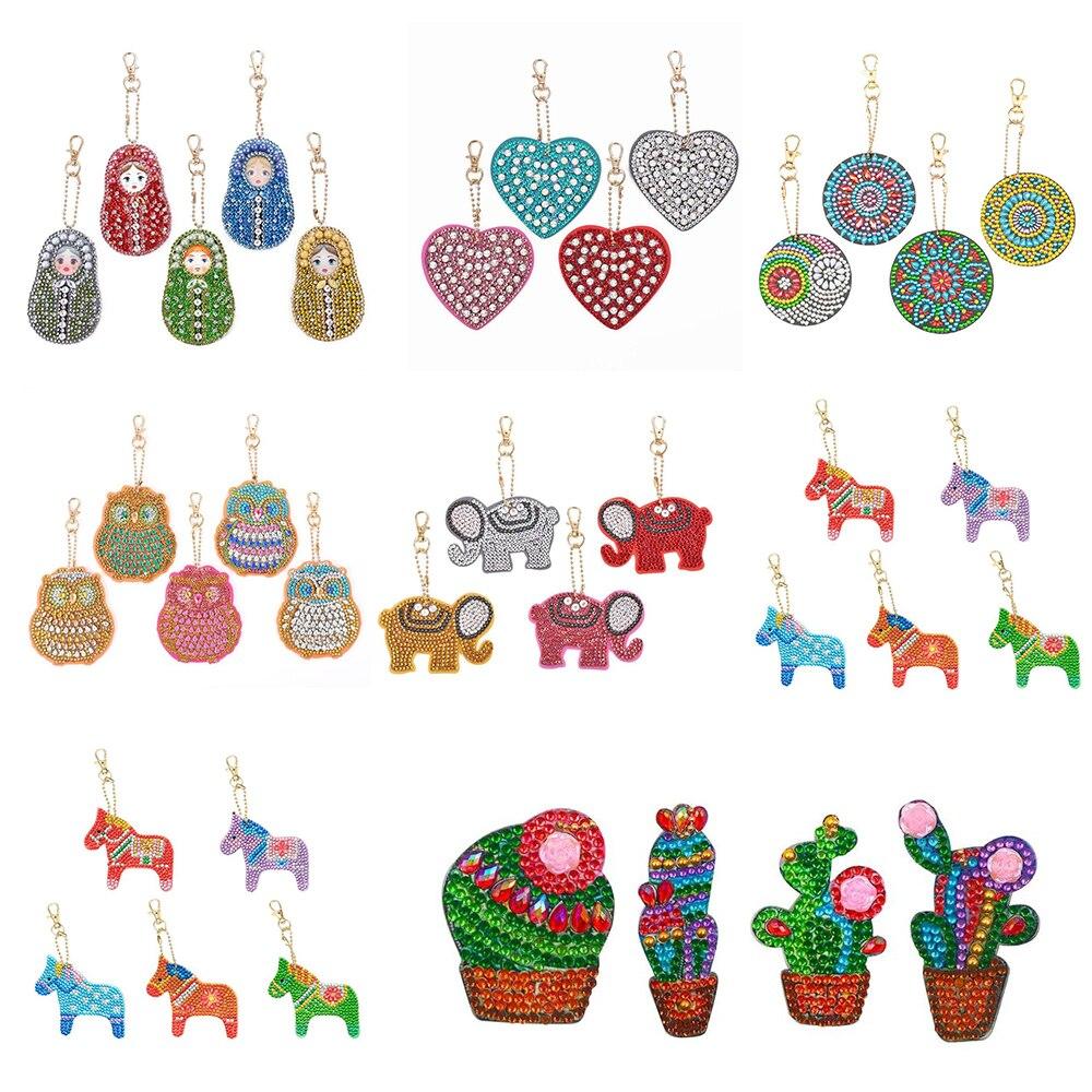 4/5pcs DIY Full Drill Special Shaped Diamond Painting Keychain Cartoon Animal Women Bag Pendant Keychains Jewelry Key Ring Gifts