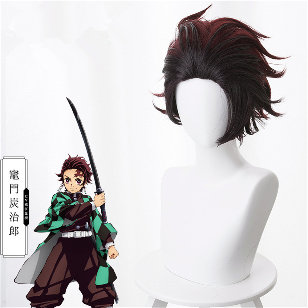 Demon Slayer: Kimetsu no Yaiba Tanjiro Kamado Short Chestnut Brown Heat Resistant Hair Cosplay Costume Wig