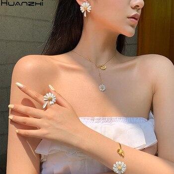 HUANZHI 2020 Новые Элегантные весенние эмалированные красочные цветочные ромашки, винтажные Элегантные Простые открытые кольца для женщин, ювел...