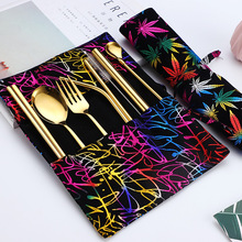 2019new Korean Portable Cutlery Set Stainless Steel Chopsticks Fork Spoon Metal Straw Pipette and Bag