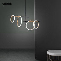 Anywhere Placed LED Rings Chandelier Lights Artistic Living Dining Room Ceiling Hanging Lamp Kitchen Island Ceiling Chandeliers