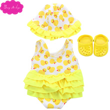 18 inch Girls doll swimsuit cartoon print bathing suit + cap  with shoes American newborn dress toys fit 43 cm baby dolls c137