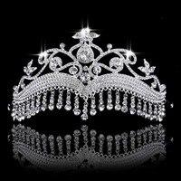 FORSEVEN Классическая блестящая диадема в виде капель с кристаллами и коронами с кисточкой для принцессы, невесты, свадебной вечеринки