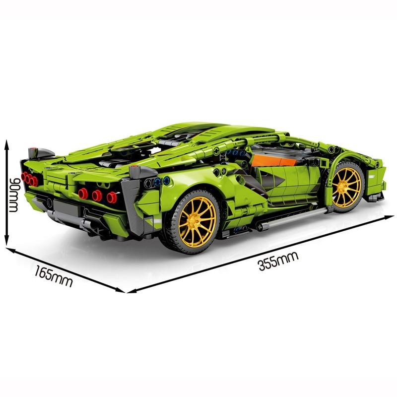 1254Pcs Lamborghini Technic Racing Building Blocks MOC Green RC Sports Car Toys