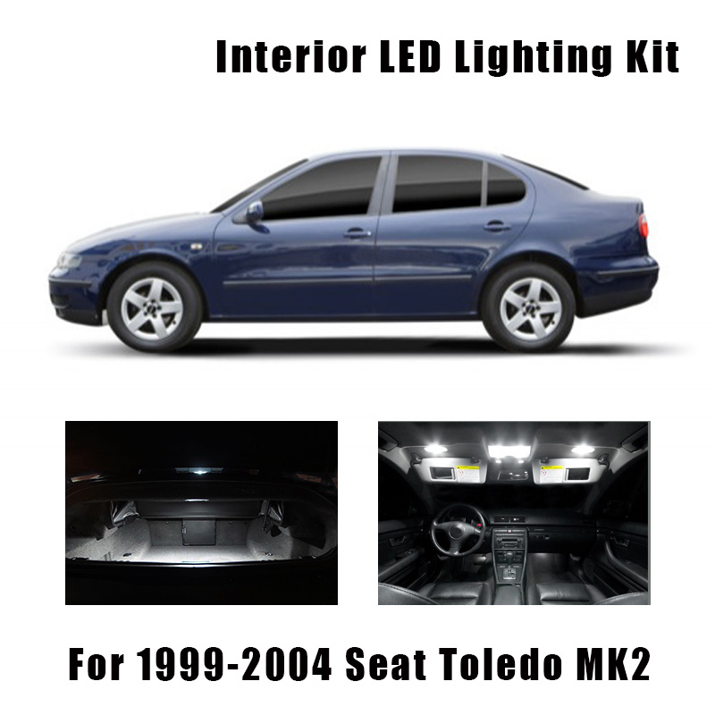 16pcs White Canbus Car Accessories LED License Plate Lamp Interior Reading Dome Light Kit For 1999-2004 Seat Toledo MK2 1M 1M2