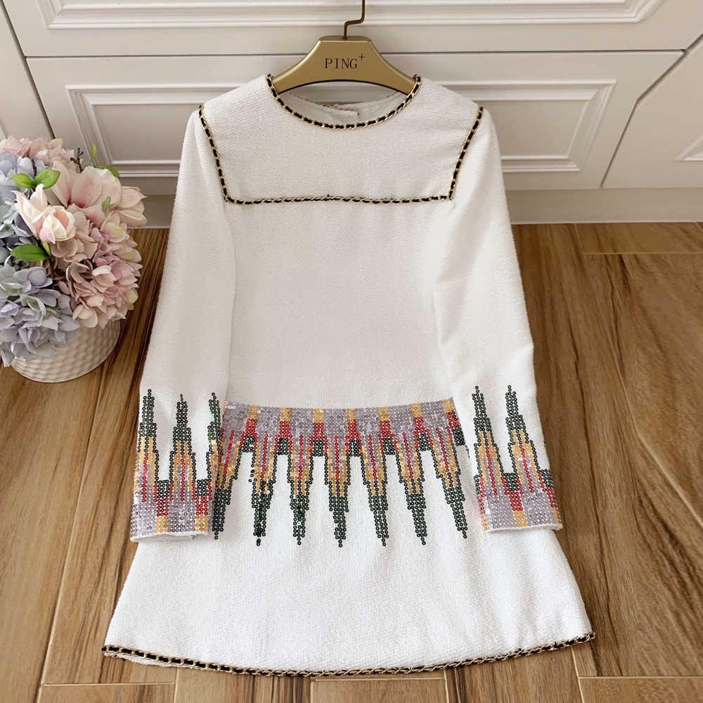 赤 RoosaRosee デザイナーの女性の秋長袖スパンコール刺繍ドレス高級ファッションパーティードレス女性 Vestidos ローブファム