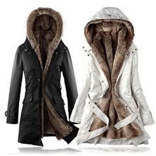 Женское классическое зимнее пальто размера плюс со съемной подкладкой из искусственного меха, Женская длинная куртка с капюшоном, двухслойная одежда, Женское пальто S-3XL