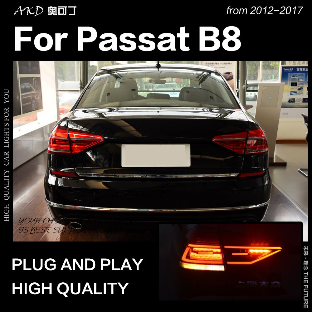 AKD Car Styling For VW Passat B8 Tail Light 2017-2018 US Version LED Tail Lamp DRL Halogen Signal Brake Reverse Auto Accessories