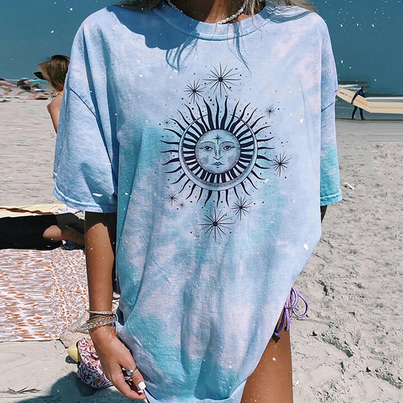 Women Casual Short Sleeve Striped Sun Moon Print Loose T Shirt  1
