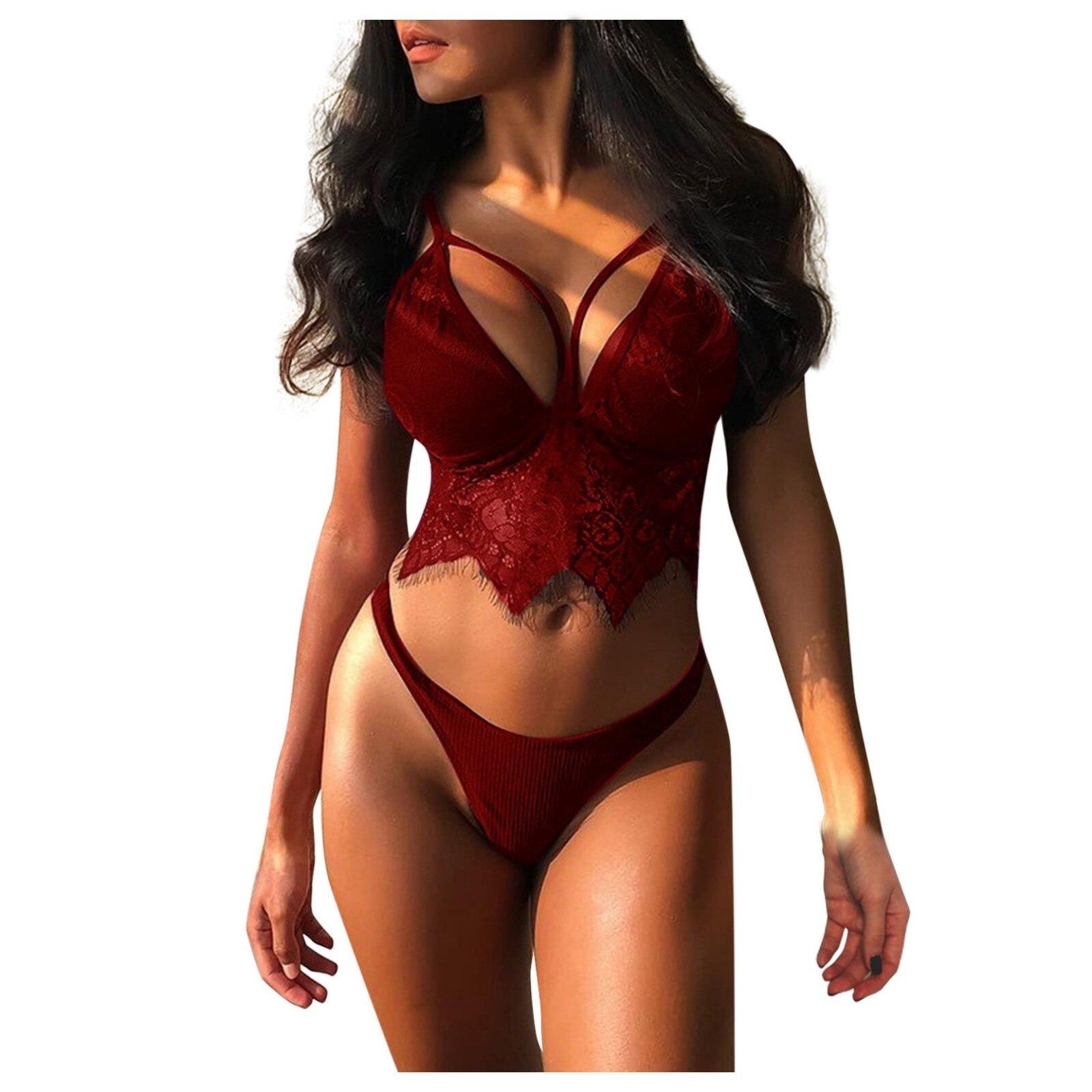 Ensemble de Lingerie Sexy pour femmes, vêtements de nuit, soutien-gorge en dentelle