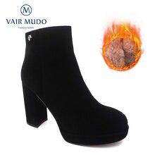 VAIR MUDO Winter Ankle Boots Shoes Women Warm Plus Velvet High Heels PlatformHigh Quality Ladies Worker Boots Black Shoes X42