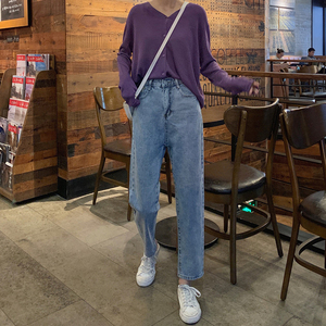 Image 5 - High Waist Jeans Women Streetwear Top Shop Novelty Personality Womens Denim Trousers Loose All Match Korean Fashion Simple Soft