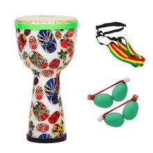 Портативный Африканский барабан Djembe Bongo ручной барабан ABS корпус 8 дюймов полиэстер барабанная головка с яичные шейкеры барабанный ремень