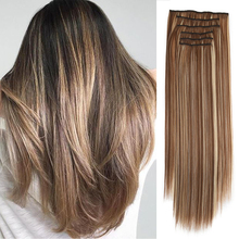 Synthetic 16 Clips In Hair extension 56cm 24 Inch Long Straight Hair Fake False Hairpiece Clip In Hair Extension Hairpiece