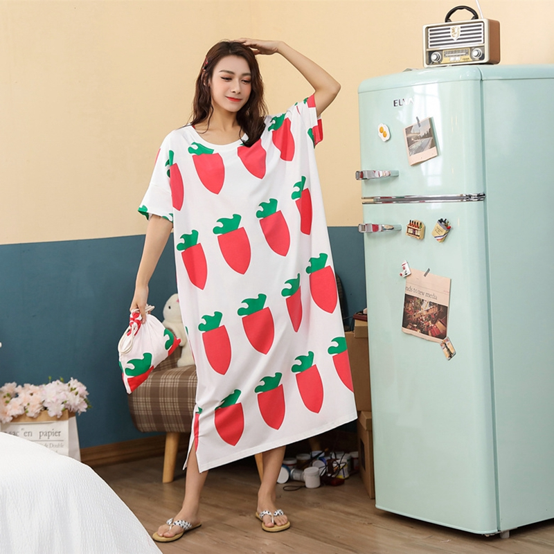 Big Size Nightdress Printing Fruits Oversized Summer Loose Women New Arrival  Sleepwear Leisure Short Sleeve Thin Nightgowns
