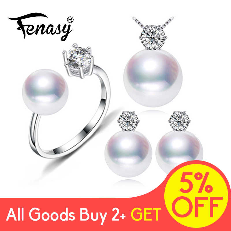 FENASY Freshwater Pearl Earrings Fashion Jewelry S925 Sterling Silver vintage Ring Statement Necklace set Jewelry Sets For women