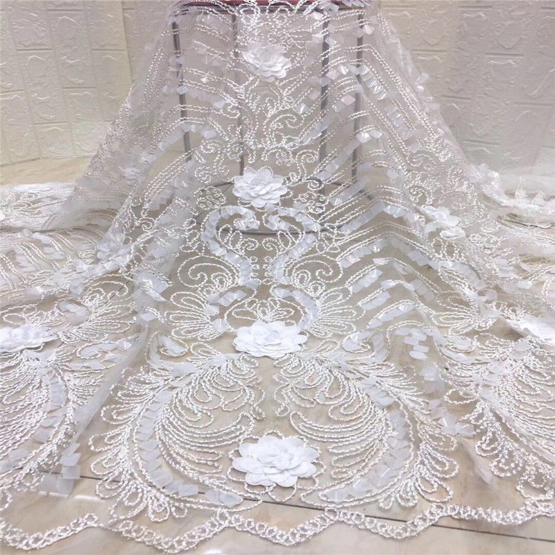3d Lace Fabric 2019 High Quality Lace African Lace Appliqun With Beaded Embroidered Lace Trim For Nigerian Wedding xc1 757 in Lace from Home Garden