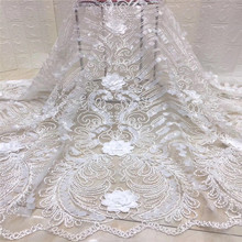 African Lace Fabric 2019 3D Flowers Beaded Tulle High Quality Beautiful French xc1-756