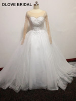 Luxury Heavy Beaded Ball Gown Wedding Dress with Long Sleeves Bridal Gown