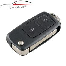 LARATH 2pcs/lot 2 Buttons Remote Folding Car Key Shell Replacement Case Cover for VW Golf MK4 Bora HU66 Blade NO logo