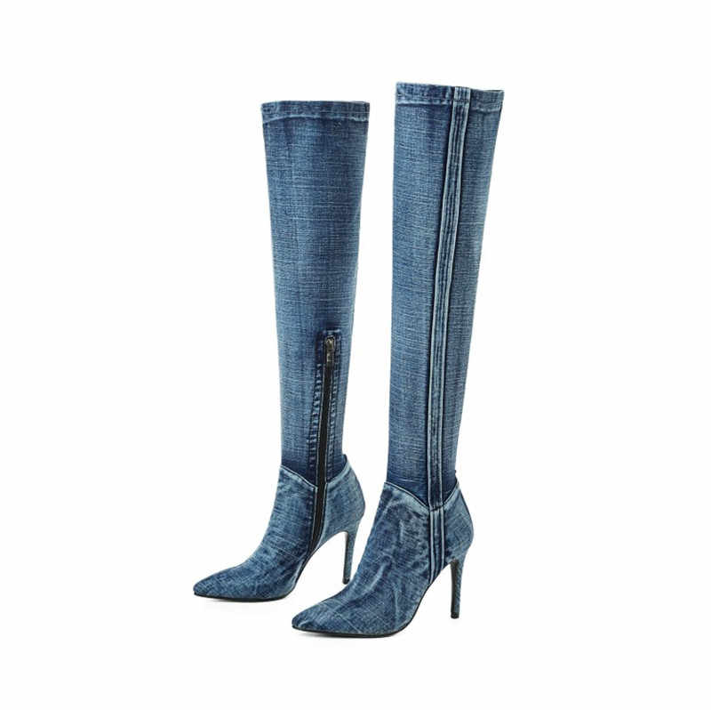 2019 yeni Denim yarım çizmeler seksi sivri burun ilkbahar/sonbahar çizmeler konfor kadın ayakkabılar kadın yüksek topuklu yan Zip ayakkabı kadın