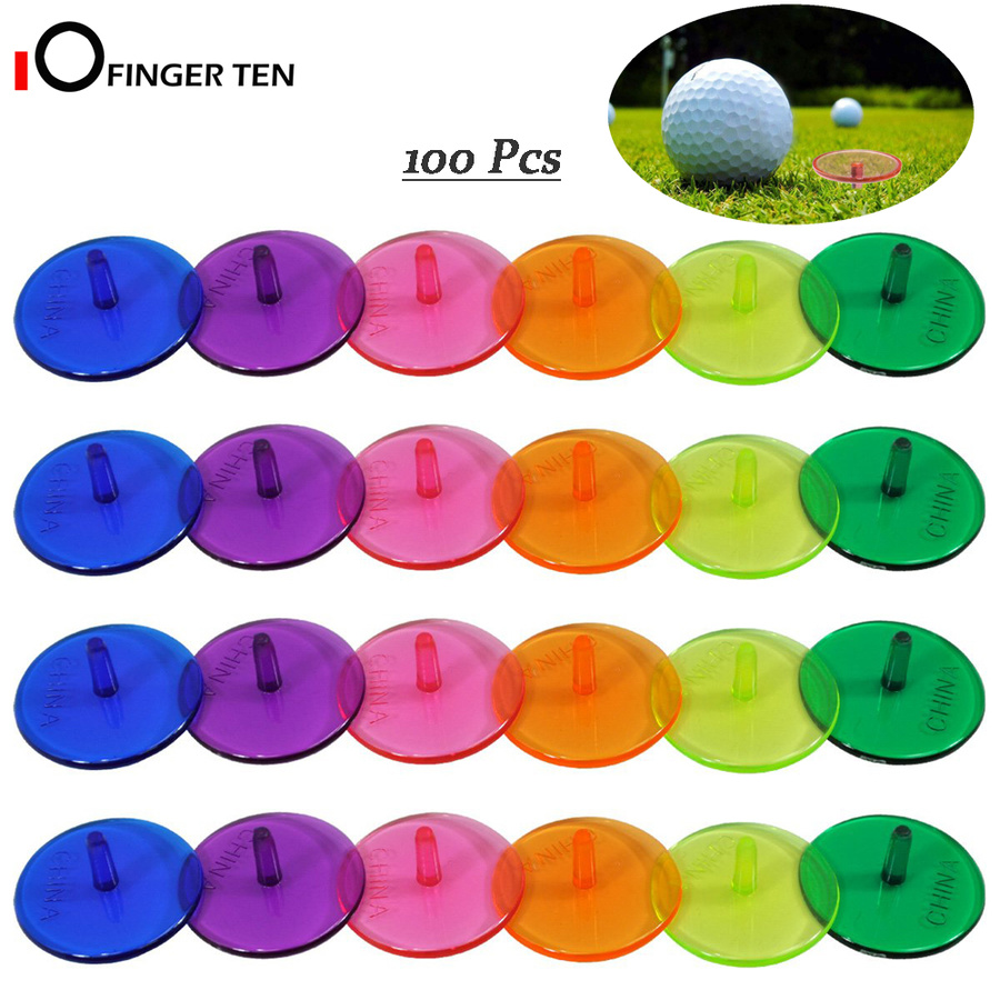 100 Pcs Plastic Golf Ball Markers 25mm Flat Round Multicolor Ball Position Marker For Golfing Practice
