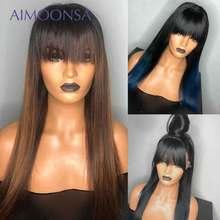 Peluca azul Ombre de encaje Frontal peluca con flequillo pelucas de cabello humano de Color con Bang 13x6 pelucas frontales de encaje recto de Color marrón Remy
