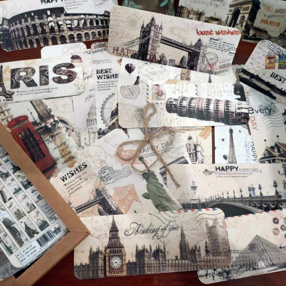 30 PCS/lot  Retro Travel Series European Architecture  Bookmark Vintage Paris Building Bookmarks Set Books School Stationary