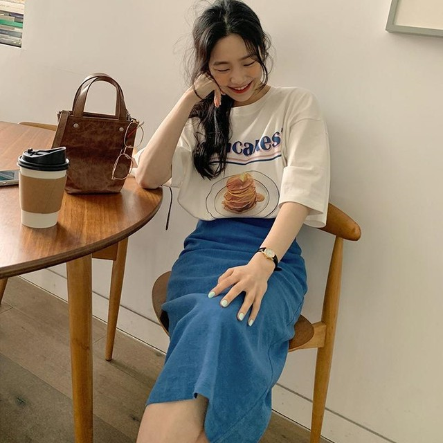 New Girls Summer T-shirt Women Suit Shirt Short Sleeves Tops High Waist Long Solid A Line Skirts Two Piece Suits Sell Separately 3