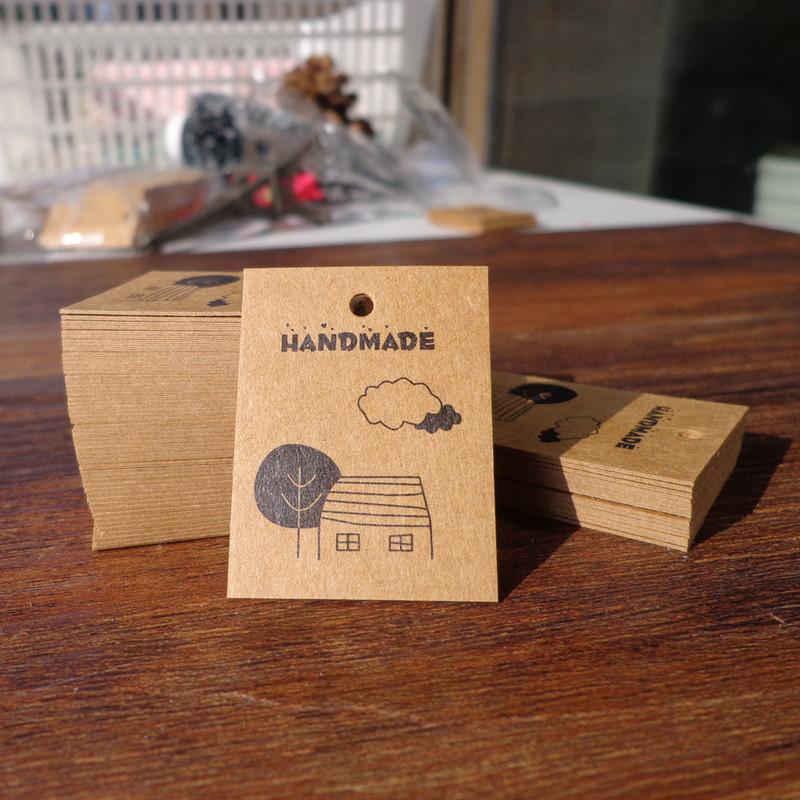 100PCS/lot Tree House Cloud Handmade Mini Paper Cards Hang Labels Kraft Paper Gift Packaging Tags Accessories