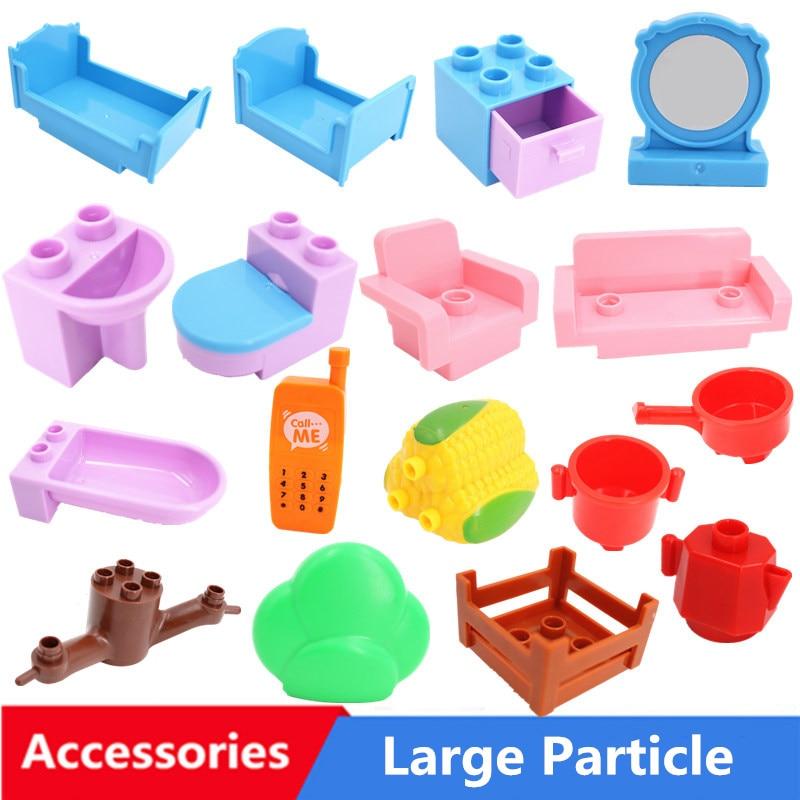 Большой размер Diy строительные блоки аксессуары домашняя мебель, диван-кровать еда совместимы с дублированные игрушки для Дети Детские под...