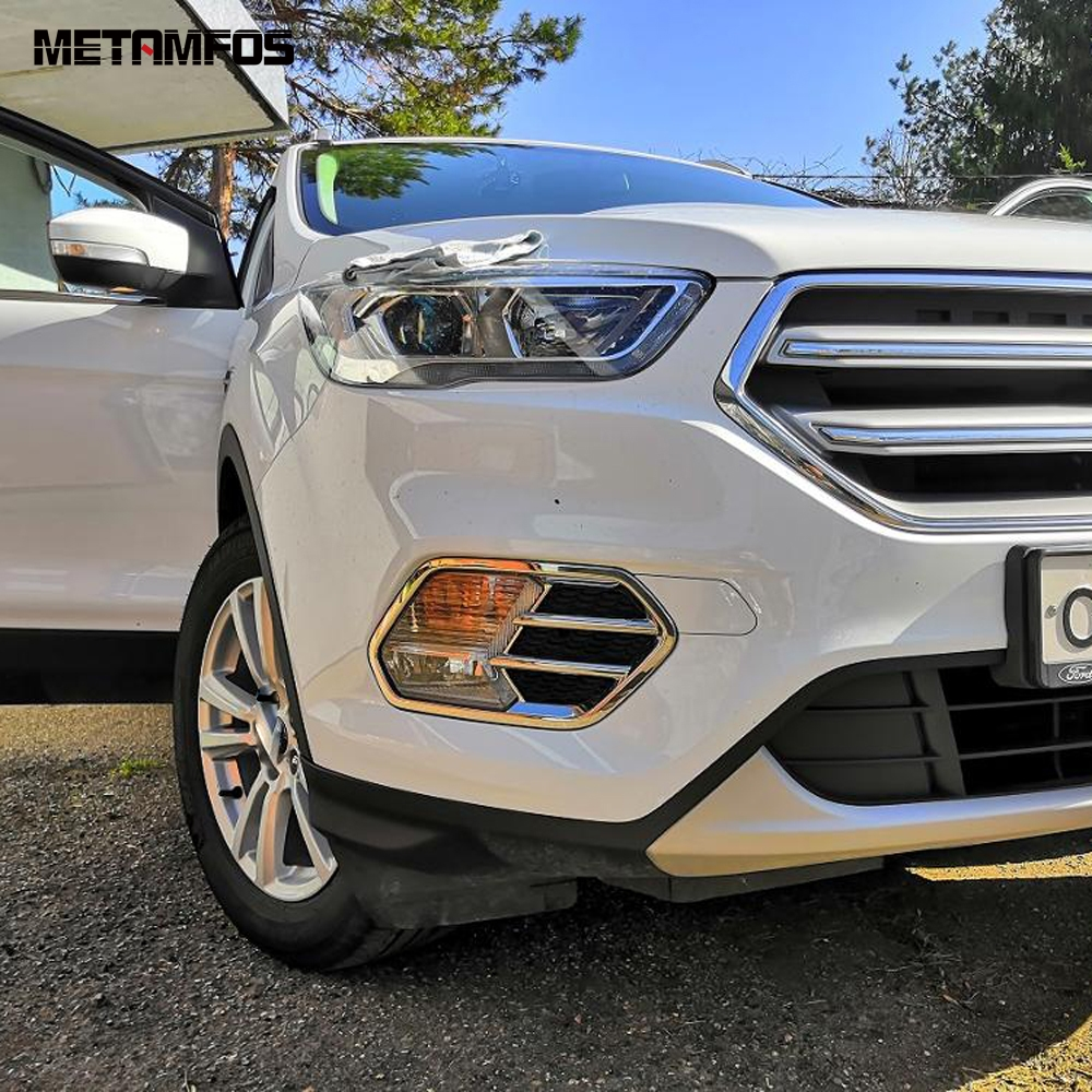 beler 2pcs ABS Chrome Plated Side Dashboard Air Vent Cover Trim Fit For Ford Escape//Kuga 2013-2018