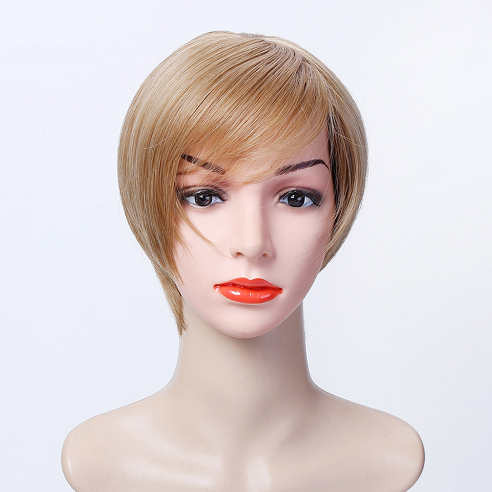 Lupu Lady Women Fashion Short Straight Wig Gold / Brown Bob Cosplay or Party Heat-Resistant Synthetic Hair
