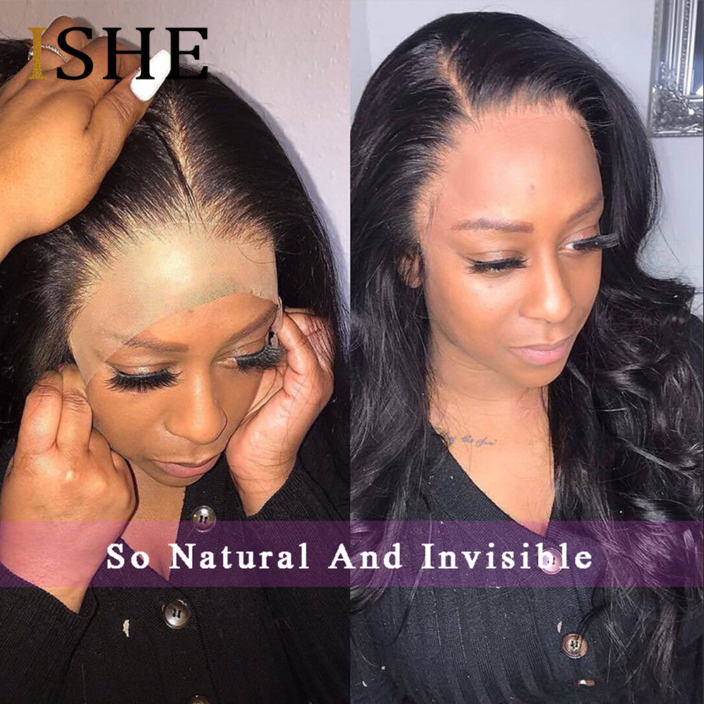 Transparent Lace Wigs Full Lace Human Hair Wigs Invisible Lace Front Human Hair Body Wave Pre Plucked 360 Lace Frontal Wigs ISHE