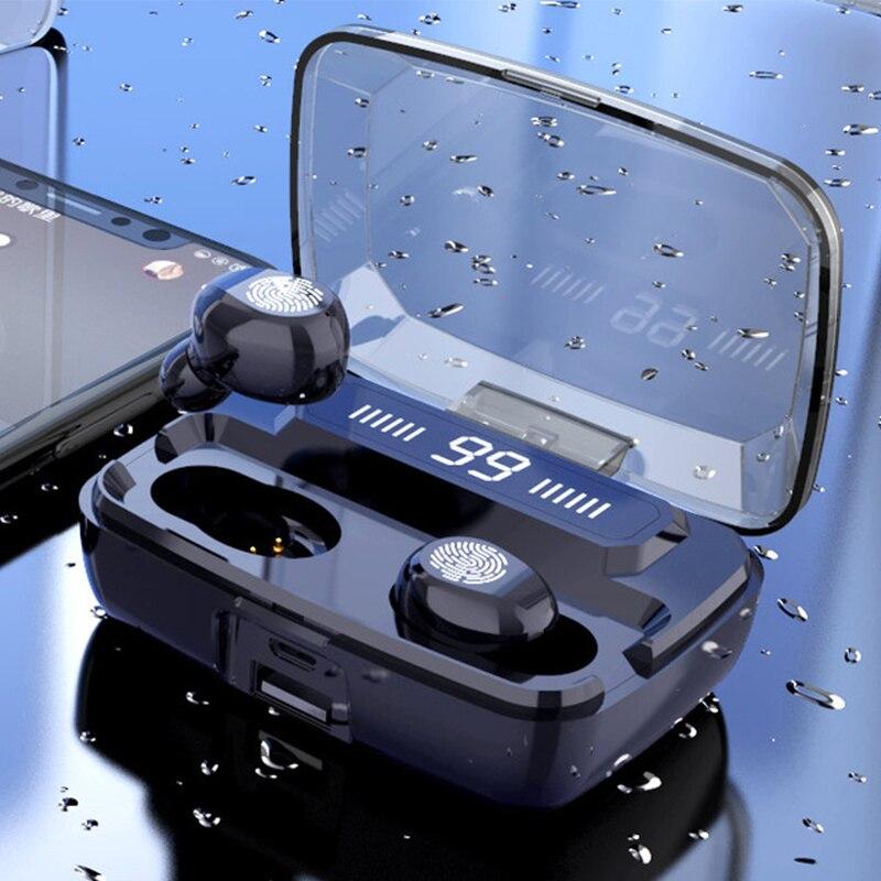 Draadloze Hoofdtelefoon Tws Bluetooth5.0 Oortelefoon Hifi IPX7 Waterdichte Oordopjes Touch Controle Headset Voor Sport/Game