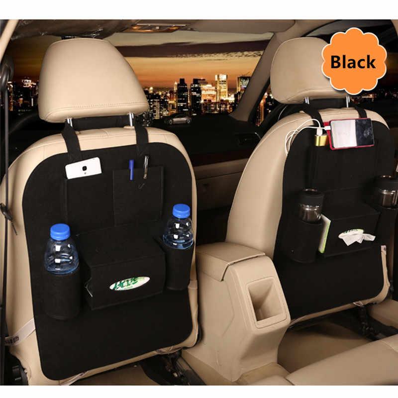 車後部座席リアトランク弾性フェルト収納袋 5 ポケットオーガナイザー自動車旅行ホルダー抗キック車アクセサリー