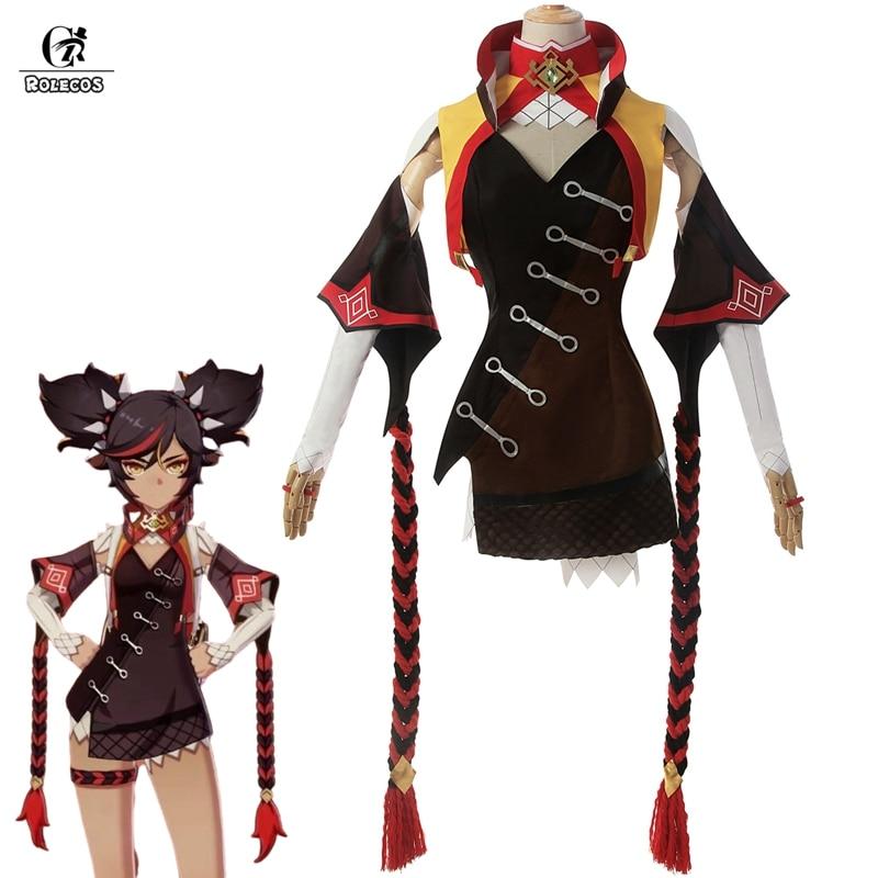 ROLECOS Genshin wpływ Cosplay XINYAN przebranie na karnawał gra Genshin wpływ kostium dla kobiet kostium na Halloween Sexy strój