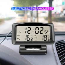 1Pcs Car Electronic clock Inside and Outside Double Thermometer Electronic Clock Table Luminous Auto Profession Accessories(China)