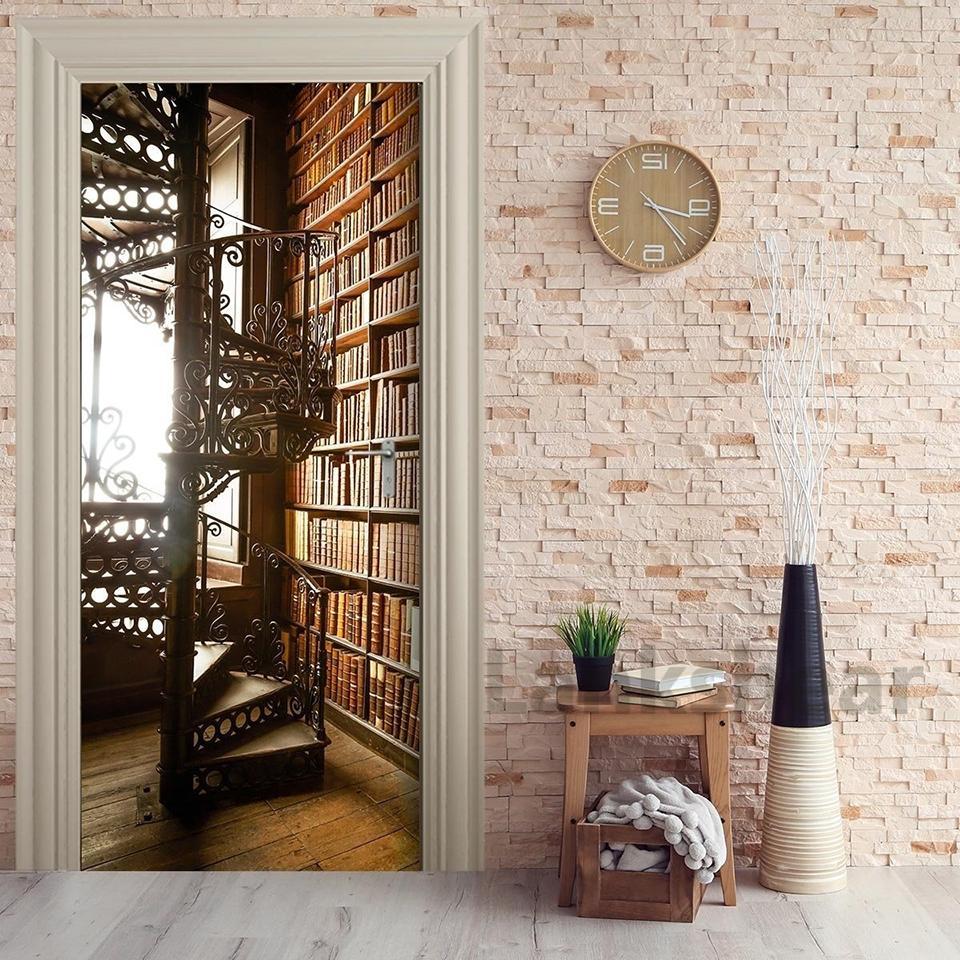 Door Sticker Self Paper Spiral Staircase Bookshelf Adhesive Decal Home Decor DIY Living Room PVC Waterproof 3D Print Sticker Art