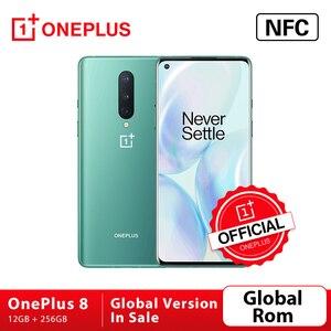 Глобальная прошивка OnePlus 8 5G смартфон 12 Гб 256 Snapdragon 865 Octa Core 6,55 ''90 Гц жидкости Экран 48MP тройной камерами Wi-Fi 6 30W
