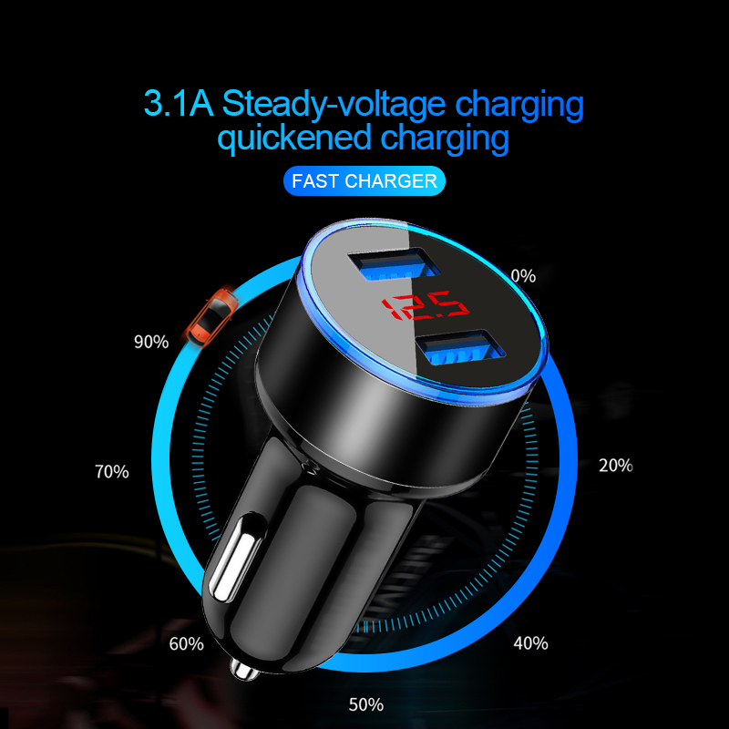 Dual USB Car Charger Adapter Universal 3.1A Fast Charging Digital LED Voltage Display Auto Metal Car-Charger For iPhone Samsung Xiaomi Huawei Smart Phone Tablet Car-Charger (3)