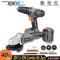 NEWONE Electric Power Tool 20V Li ion Cordless Impact Drill/Screwdriver Cordless Angle grinder M14, Combo Kit Grinding