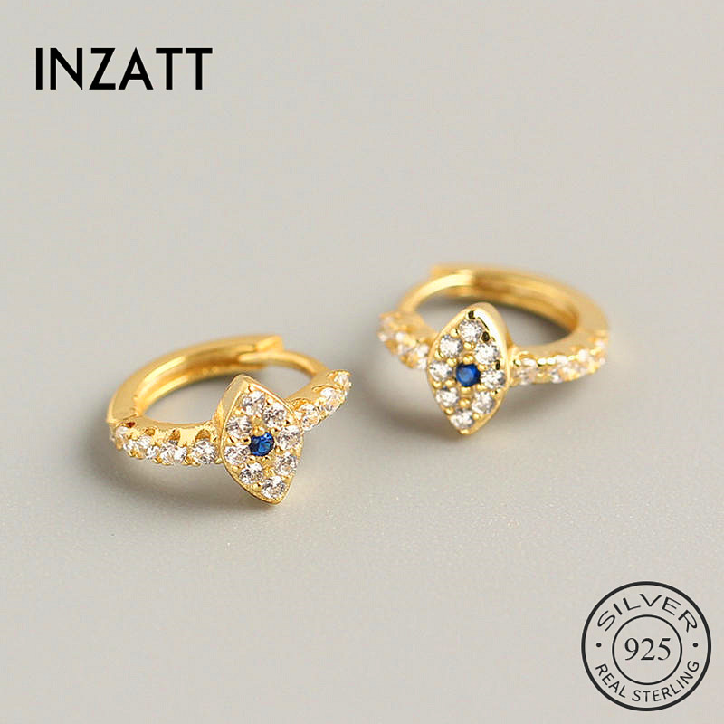 INZATT Real 925 Sterling Silver Blue Zircon Eye  Hoop Earrings For Fashion Women Party Fine Jewelry Minimalist Accessories  Gift